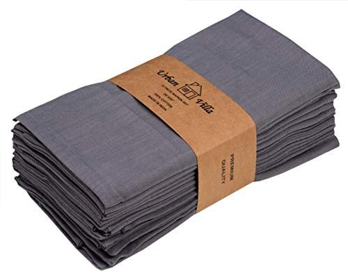 Urban Villa Solid Slub Set of 12 Dinner Napkins (20X20 Inch) 100% Cotton Everyday Use Premium...