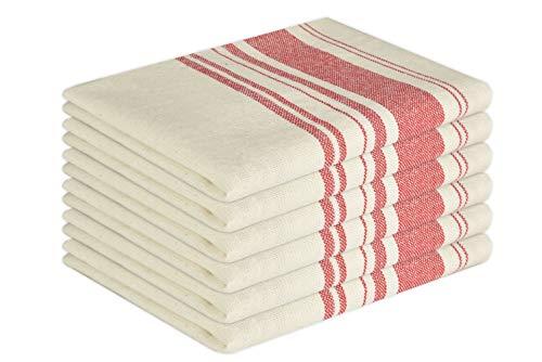 GLAMBURG Vintage Stripe Premium Cotton Kitchen Dish Towels 6-Pack 16x26 Red, Dish Cloths, Bar...