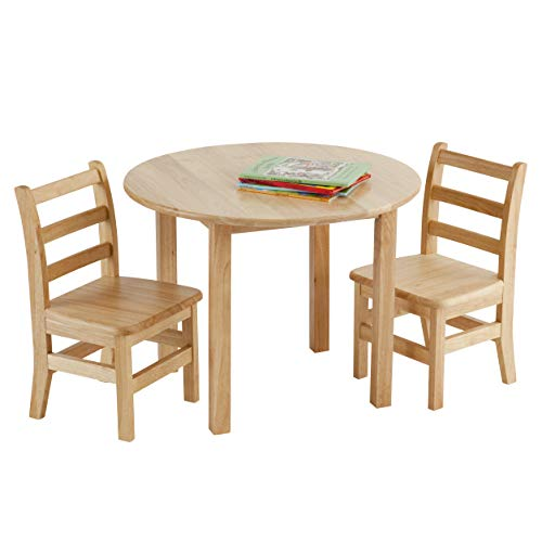 ECR4Kids 30-Inch Round Natural Hardwood Table, 22-Inch Height with Two 12-Inch Chairs, 3-Piece Set,...