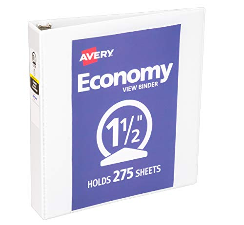 Avery Economy View 3 Ring Binder, 1.5' Round Rings, 1 White Binder (05770)