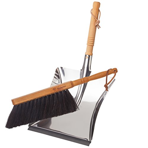 Redecker Dust Pan and Brush Set, Durable Beechwood and Stainless Steel Design, Large Capacity, Dense...