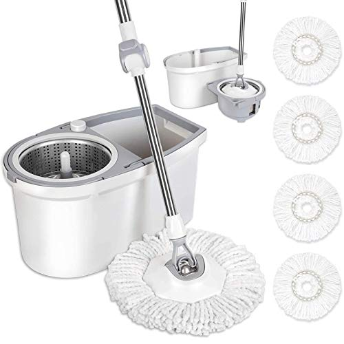 BOOMJOY Spin Mop and Bucket with Wringer Set, Easy Wring Mop for Floor Cleaning with 4 Microfiber...