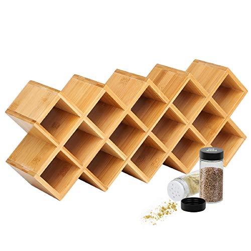 Criss-Cross 18-Jar Bamboo Countertop Spice Rack Organizer, Kitchen Cabinet Cupboard Wall Mount Door...