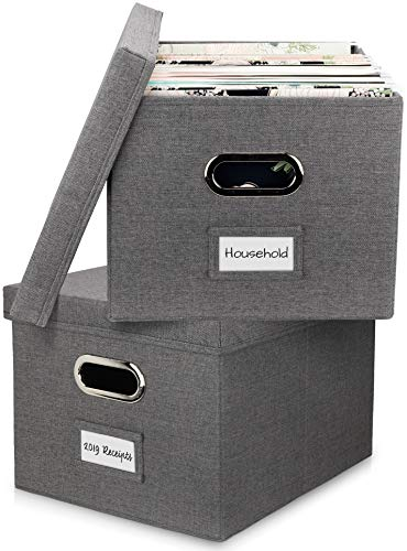 Decorative File Organizer Box Set of 2 - Collapsible Linen Filing Cabinets for Space Saving File...