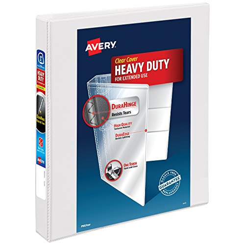 Avery Heavy Duty View 3 Ring Binder,1' One Touch Slant Ring, Holds 8.5' x 11' Paper, 1 White Binder...