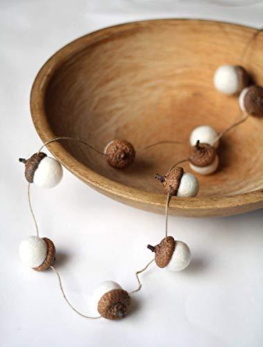 Felted Acorn Garland - ten white handfelted acorns on hemp string