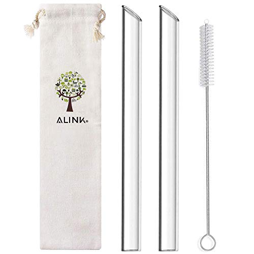 ALINK Glass Boba Straws, 14mm Extra Wide Clear Straws for Smoothies, Bubble Tea, Pack of 2 with...