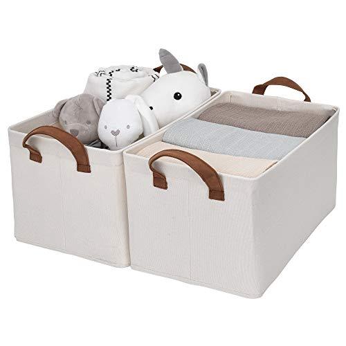 StorageWorks Metal Storage Baskets for Shelves with Frame, Cutton Rectangle Storage Bins, Natural,...