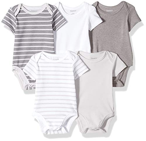 Hanes Ultimate Baby Flexy 5 Pack Short Sleeve Bodysuits, Grey Stripe, 18-24 Months