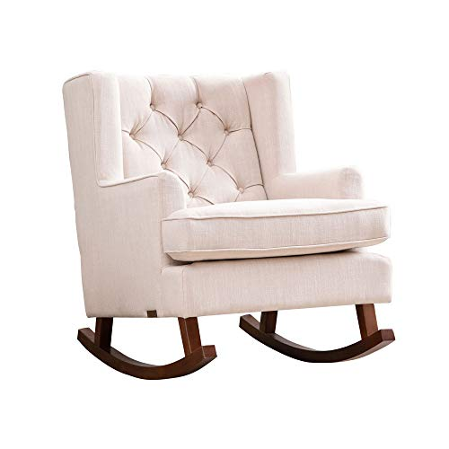 Abbyson Living Fabric Upholstered Nursery Room Glider Rocker Chair, Beige