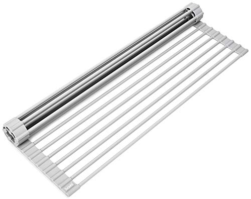 Surpahs Over The Sink Multipurpose Roll-Up Dish Drying Rack (Warm Gray, Large - 20.5' x 13.1')