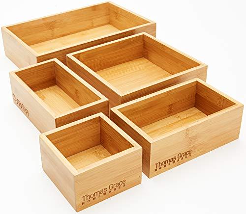 5-Piece Bamboo Storage Box & Organizer Set - Thomas Grace Homewares. Multi-sized Set of 5 Drawer...