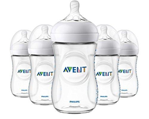 Philips Avent Natural Baby Bottle, Clear, 9oz, 5pk, SCF013/57