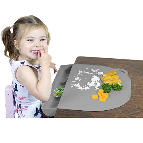 Food Catching Baby Placemat with Suction - UpwardBaby Gray Silicone Placemats for Kids Babies and...