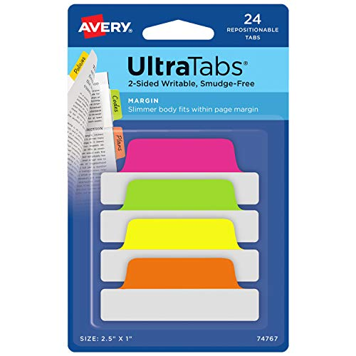 Avery Margin Ultra Tabs, 2.5' x 1', 2-Side Writable, Assorted Neon Color, 24 Repositionable Page...