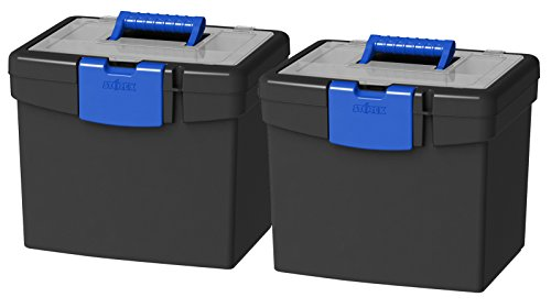 Storex Portable File Box, with Lockable XL Supply Storage Lid and Carry Handle, Black/Blue, 10.9 x...