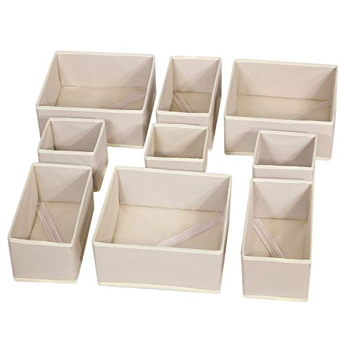 DIOMMELL 9 Pack Foldable Cloth Storage Box Closet Dresser Drawer Organizer Fabric Baskets Bins...