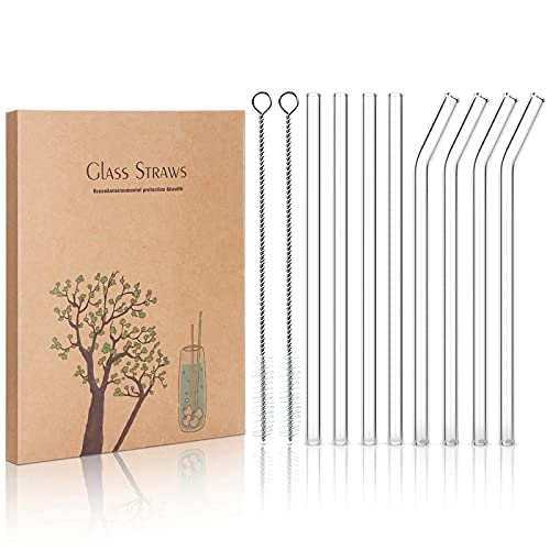 STREWEEK 8PCS Reusable Glass Drinking Straws, 8.5in X 10 mm, with Two Cleaning Brushes, Perfect for...