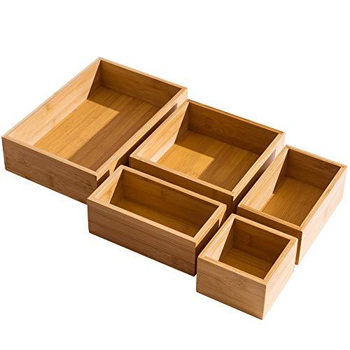 5 Piece Bamboo Drawer Organizer Set, Luxury Wooden Desk Storage Box Kit, Multi-use Junk Drawer...