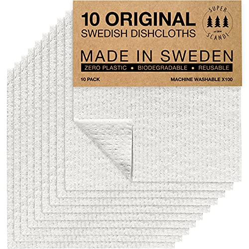 SUPERSCANDI White 10 Pack Swedish Dishcloths Reusable Compostable Towels Made in Sweden Cellulose...