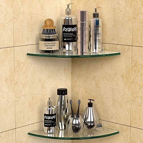 GeekDigg 2 Pack Glass Shelf, Corner Shower Caddy Shelf Basket Shampoo Holder Organizer, No Drilling...