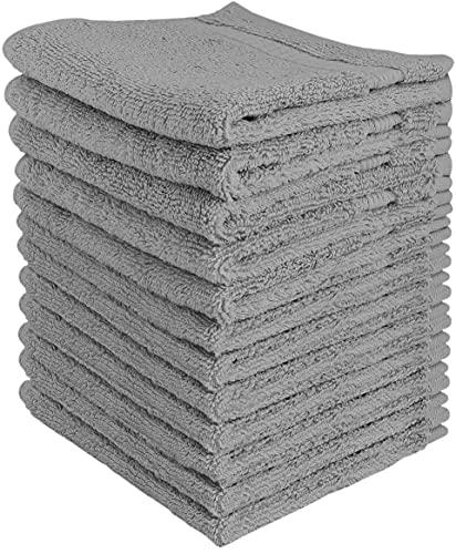 Utopia Towels Premium Fingertip Towel Set (12 x 12 Inches, Grey) 600 GSM 100% Cotton Washcloths &...