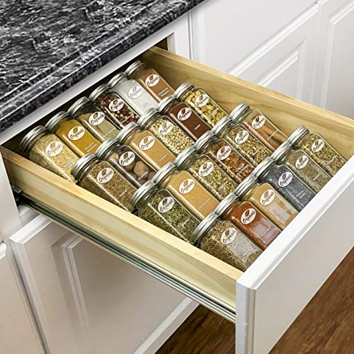 Lynk Professional Spice Rack Tray-Heavy Gauge Steel 4 Tier Drawer Organizer for Kitchen Cabinets,...