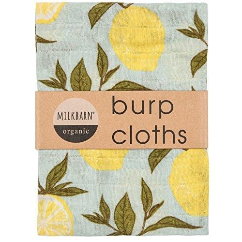 Milkbarn Organic Cotton Burp Cloths (2 pack) (Blue lemon), 23'x23'