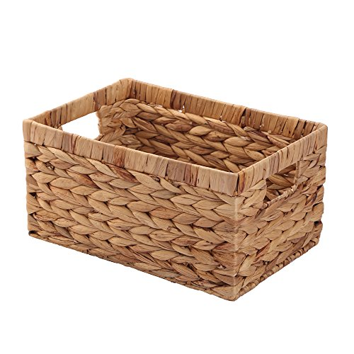 Storage Container, Natural Water Hyacinth Storage Bins Rectangular Basket,Arts and Crafts.