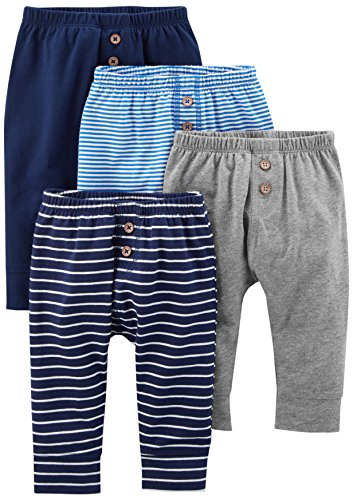 Simple Joys by Carter's Baby Boys' 4-Pack Pant, Navy/Stripes/Gray, Newborn