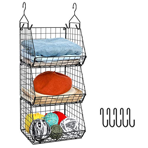 X-cosrack 3 Tier Foldable Closet Organizer, Clothes Shelves with 5 S Hooks, Wall Mount&Cabinet Wire...