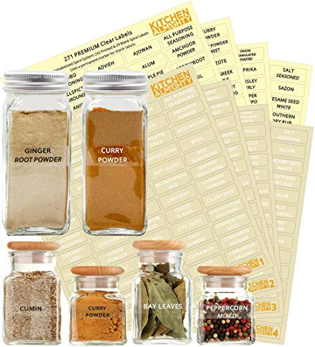 542 Labels: 484 Spice Names + 58 Blank Labels | Upgraded Thicker Labels & Backing Paper|...