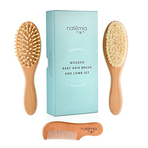 Natemia Premium Wooden Baby Hair Brush and Comb Set – Natural Soft Bristles – Ideal for Cradle...
