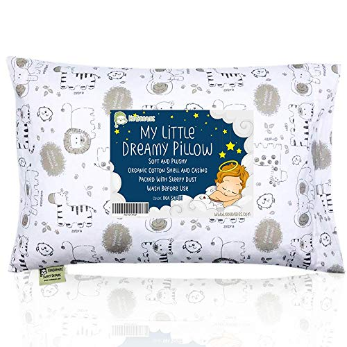 Toddler Pillow with Pillowcase - 13X18 Soft Organic Cotton Baby Pillows for Sleeping - Machine...