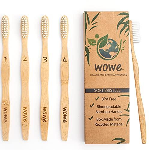 Wowe Lifestyle Natural Organic Bamboo Toothbrush Wood, Ergonomic Biodegradable Handle, Soft BPA Free...