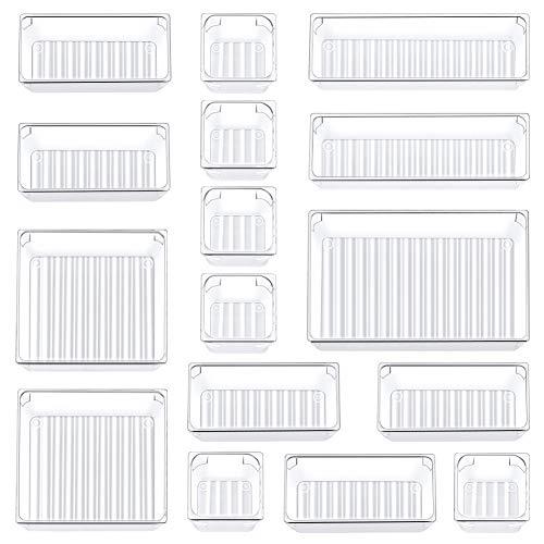Kootek 16 Pcs Desk Drawer Organizer Set 5-Size Bathroom Drawer Tray Dividers Versatile Storage Bins...