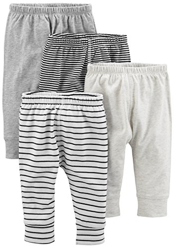 Simple Joys by Carter's Baby 4-Pack Pant, Gray Stripe, 6-9 Months