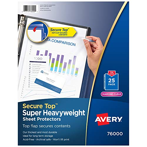 Avery Diamond Clear Secure Top Sheet Protectors, Super Heavyweight, 25 Page Protectors (76000)