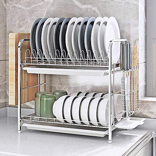 Dish Drying Rack Kitchen Organizer with Off Ground Easy Remove Double Layers 304 Stainless Steel