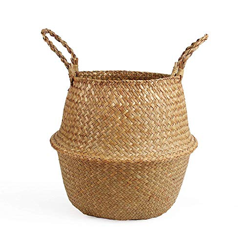 BlueMake Woven Seagrass Belly Basket for Storage Plant Pot Basket and Laundry, Picnic and Grocery...