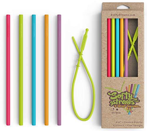 Silicone Straws - Slender Size BPA Free Non-Rubber Silicon Reusable Drinking Straws for Stainless...