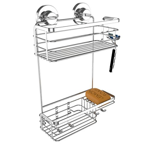 Vidan Home Solutions Shower Caddy | Stainless steel, rustproof, wall mounted with suction cups,...
