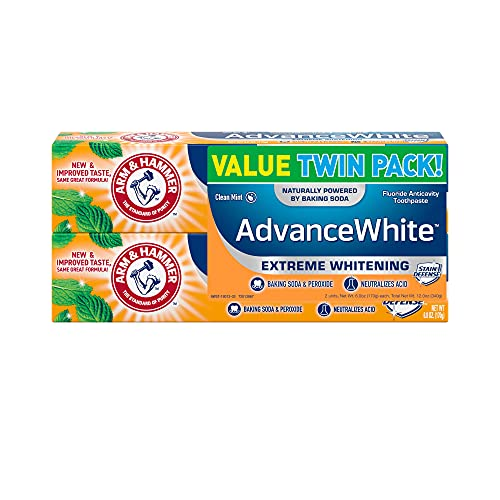 ARM & HAMMER Advanced White Extreme Whitening Toothpaste, TWIN PACK (Contains Two 6oz Tubes) -Clean...