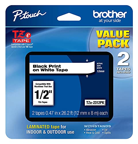 """Brother Genuine P-touch, TZe-231 2 Pack Tape (TZE2312PK) ½""""(0.47"""") x 26.2 ft. (8m) 2-Pack..."""