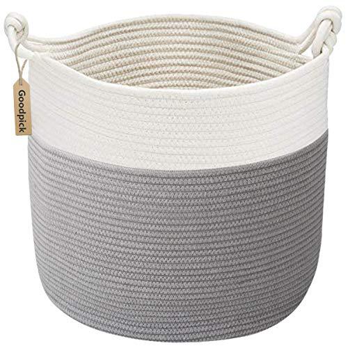 Goodpick Cotton Rope Basket with Handle for Baby Laundry Basket Toy Storage Blanket Storage Nursery...