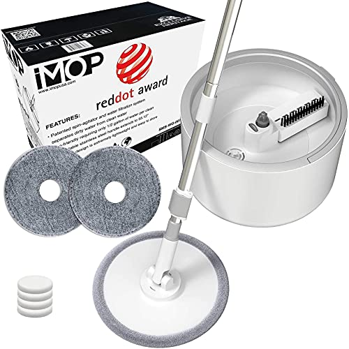 VENETIO iMOP Microfiber Spin Mop with Patented Bucket Water Filtration – Self Wringing Wet Dry...