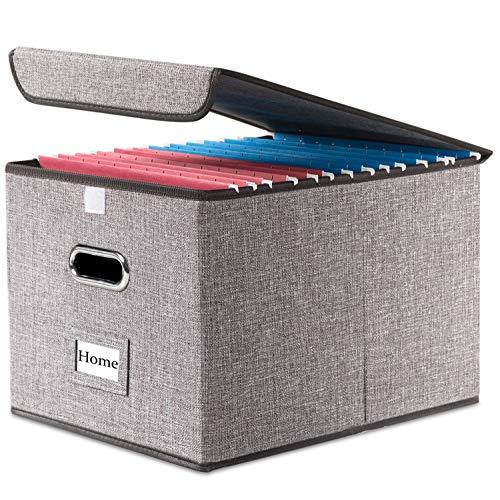 PRANDOM File Organizer Box - Set of 1 Collapsible Decorative Linen Filing Storage Hanging File...