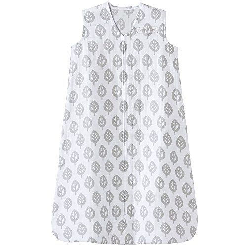 HALO 100% Cotton Muslin Sleepsack Wearable Blanket, TOG 0.5, Grey Tree Leaf, X-Large
