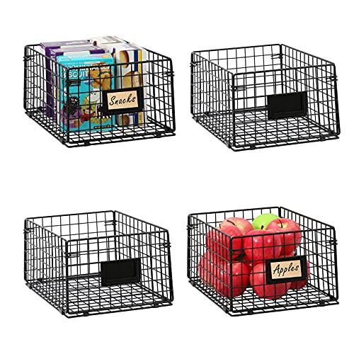 X-cosrack Stackable Pantry Baskets Organization 4 Pack 12x9x6inch, with Tag Slot Handles, Foldable...