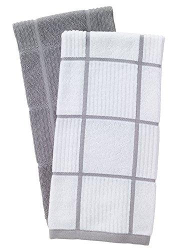 T-Fal Textiles 60954 2-Pack Solid & Check Parquet Design 100-Percent Cotton Kitchen Dish Towel,...
